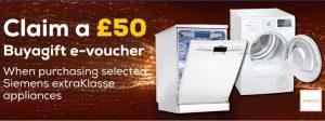 £50 voucher with Siemens ExtraKlasse Appliances