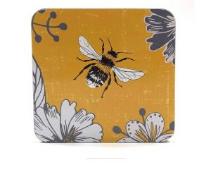 Coasters x 6 Bumblebee Yellow