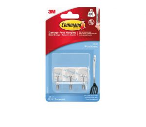 Command Hooks & Strips Clear Small Wire Hooks x3