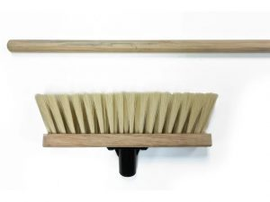 Soft Cream PVC Broom Head 290mm + Handle