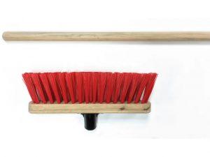 Stiff Red PVC Broom Head 290mm + Handle