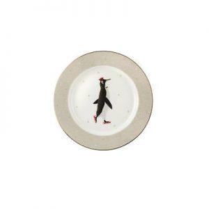 Sara Miller Plate Adult Penguin Skating 8″
