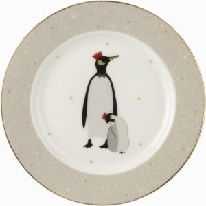 Sara Miller Plate Adult and Baby Penguin 8″