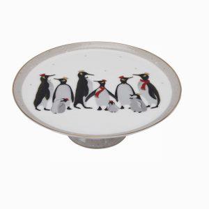 Sara Miller London Portmeirion Penguin Christmas Footed Cake Pla