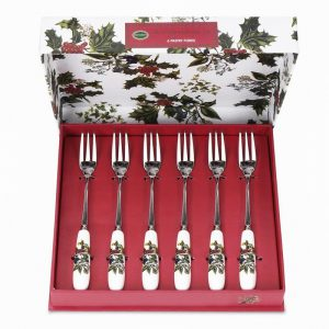 Portmeirion The Holly and the Ivy Pastry Fork Set of 6