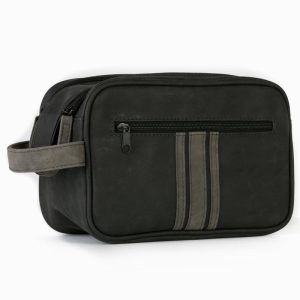 Brompton & Langley – Charcoal Double Zip Wash Bag