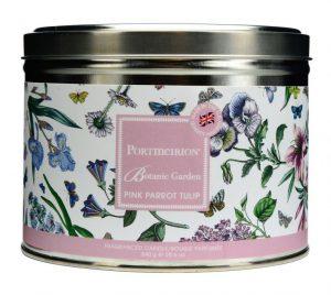 Portmeirion Botanic Garden 3 Wick Candle Tin – Pink Parrot Tulip