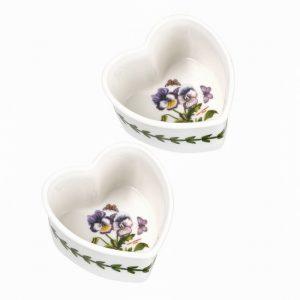 Botanic Garden Heart Ramekin Pansy- Set of 2