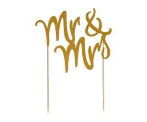 Mason Cash Mr & Mrs Gold Glitter Cake Topper