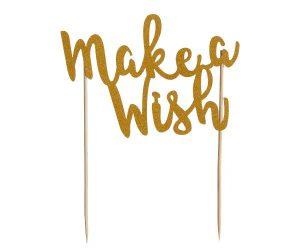 Mason Cash Make A Wish Gold Glitter Cake Topper