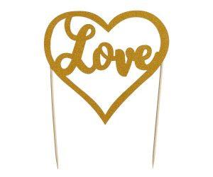 Mason Cash Love Gold Glitter Cake Topper