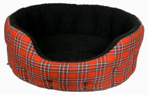 P&L Premium Oval Drop Fronted Softee Bed- Red Tartan (5)
