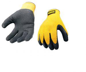 Dewalt Yellow Knit Back Latex Gloves – Large