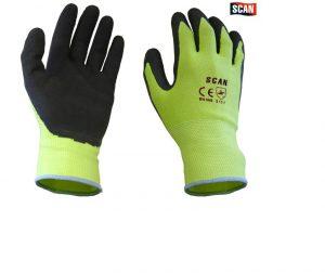 Scan Hi-Vis Yellow Foam Latex Coated Gloves – L (Size 9)