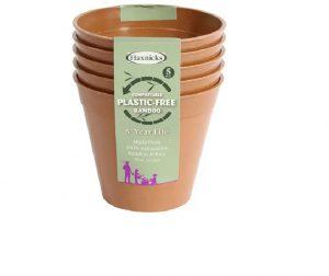 Haxnicks Bamboo Pot 6in Terracotta x 5