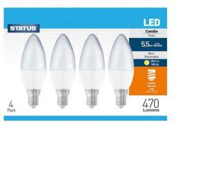 Candle LED 5.5W 470 Lumen Small Edison Screw Warm White x 4