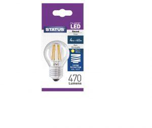 Round Filament LED 4W 470 Lumen Clear Edison Screw Warm White