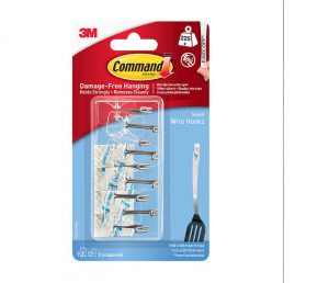 Command Clear Small Wire Hooks with Clear Strips x9