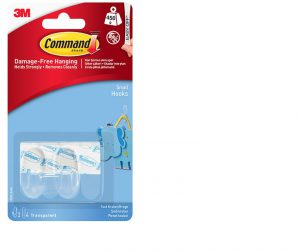 Command Small Clear Hooks with Clear Strips x2