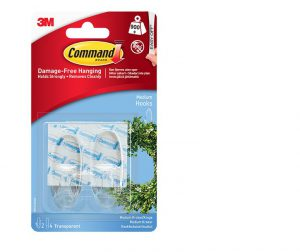 Command  Medium Clear Hooks with Clear Strips x2