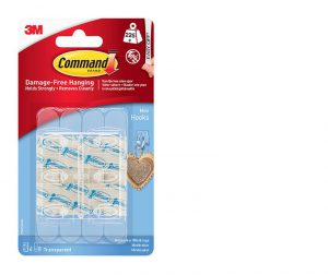 Command Mini Clear Hooks with Clear Strips x6