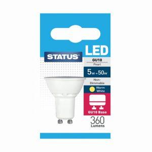 5w = 50w = 360 lumens – Status – LED – GU10