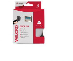 Velcro Stick On Tape White 20mm x 2.5m