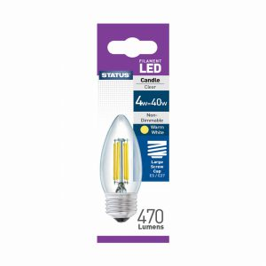 Candle Filament LED 4W 470 Lumen Clear Edison Screw