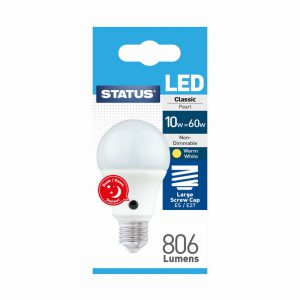 10w = 60w = 806 lumens Sensor LED GLS ES