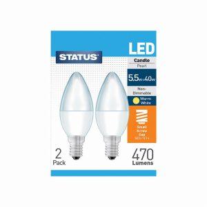 5.5w 470 lumens SES LED Candle Bulbs 2 pack