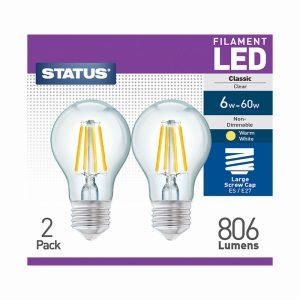 6w 806 lumens  Status Filament LED GLS ES Clear 2 PK