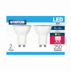 3w = 240 lumens – Status – LED – GU10 – Pearl – Warm White