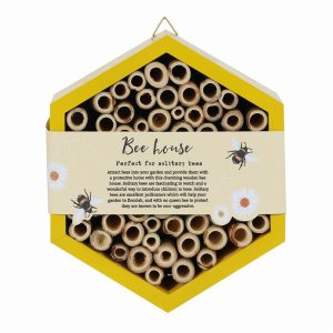 Wooden Bee House- Yellow
