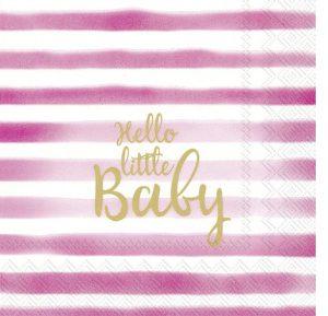 Napkin Hello Little Baby Pink