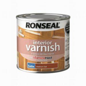 Ronseal Interior Varnish Satin Medium Oak 250ml