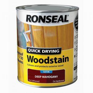 Ronseal Woodstain Quick Dry Satin Deep Mahogany 750ml