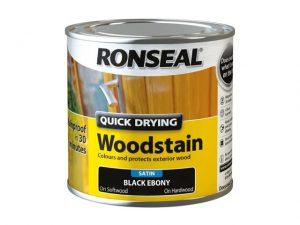 Ronseal Quick Dry Woodstain Satin Black Ebony 250ml