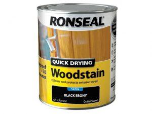 Ronseal Quick Dry Woodstain Satin Black Ebony 750ml