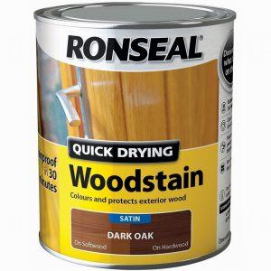 Ronseal Woodstain Quick Dry Satin Dark Oak 750ml