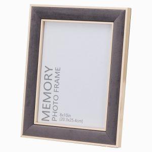 Photo Frame Grey Velvet With Gold Edging 8x10cm