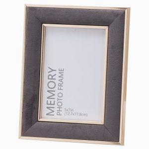 Photo Frame Grey Velvet With Gold Edging 5×7