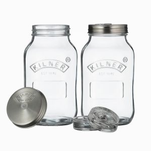 Kilner Set Of 2 Fermentation Jars- 1 Litre