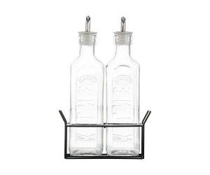 Kilner Set Of 2 Oil Bottles & Metal Rack- 0.6 Litre