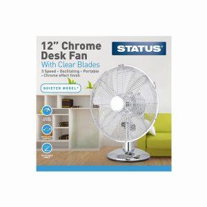 12″ Chrome Desk Fan Plastic Blade- Oscillating – 3 Speed Setting