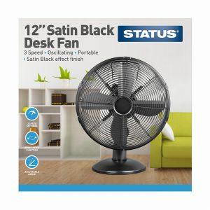 12″ Satin Black Desk Fan – Oscillating – 3 Speed Settings – Stat