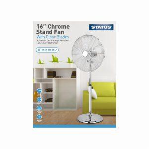 16″ Chrome Stand Fan Plastic Blade – Oscillating – 3 Speed Setti