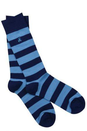 Swole Panda Socks Sky Blue Striped Mens 7-11