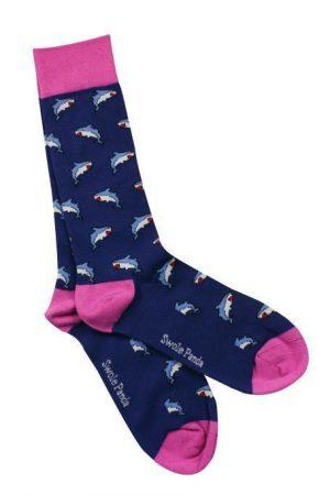 Swole Panda Socks Sharks Mens 7-11