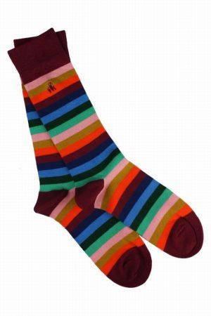 Swole Panda Socks Multi Stripe Mens 7-11