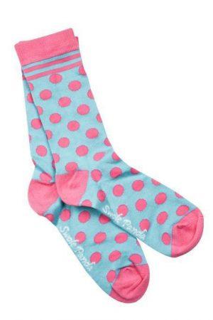 Swole Panda Socks Blue And Pink Polka Dot Ladies 4-7